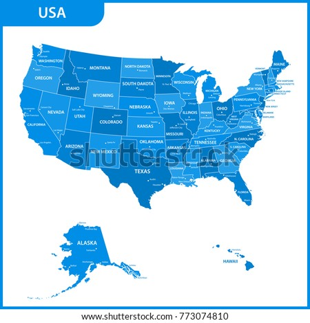Detailed Map USA Regions States Cities Stock Illustration 773074810