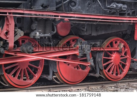 The details of steam locomotive  - stock photo