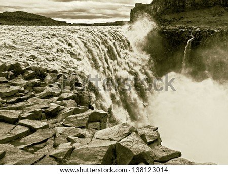 The Dettifoss falls in Iceland (stylized retro) - stock photo