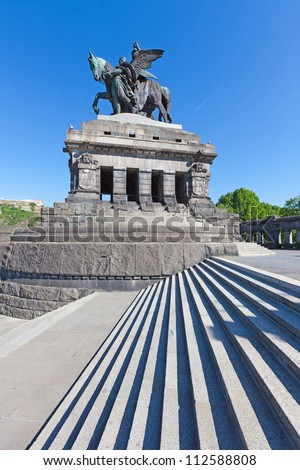 The Deutsches Eck (German Corner) with the statue of German Unity & William the Great in Koblenz. Located at the confluence of the rivers Rhine and Mosel. - stock photo