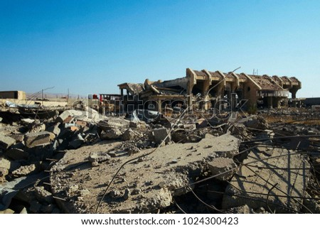 The devastation of Qaraqosh (a.k.a. Bakhdida, Al-Hamdaniya), the christian city occupied by ISIS. The remains of a building destroyed during the battle.  Qaraqoosh (IQ) 2016/Nov/27