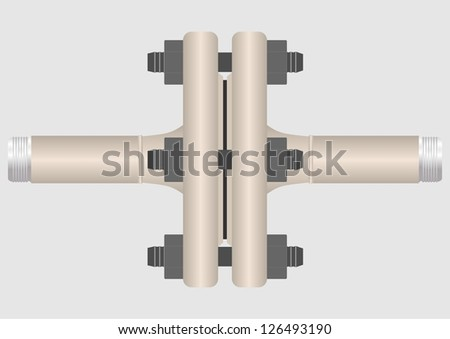 The device connecting pipe flanges with nipples.