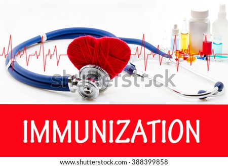 The diagnosis of immunization. Phonendoscope and vaccine with drugs. Medical concept. - stock photo