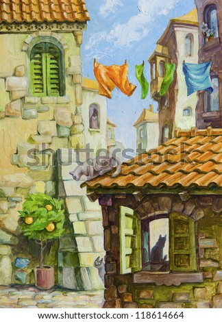 The different cats at the various places of the old Mediterranean city - the narrow streets between the old stone buildings, the orange tiled roof, the interior behind the green shutters. - stock photo