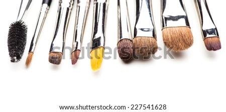 The different makeup brushes isolated on white background