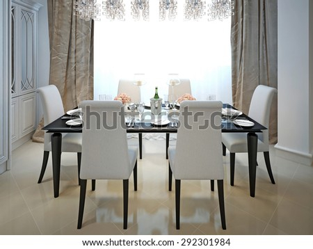 The dining room and kitchen in the style of art deco. . 3d visualization