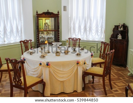 The dining room in the tower of the Gatchina Palace. Gatchina, Russia - 3 December, 2016. Visit the Museum Reserve Gatchina Palace.
