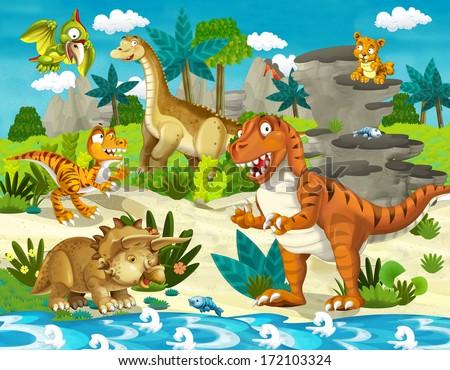 The dinosaur land - illustration for the children - stock photo