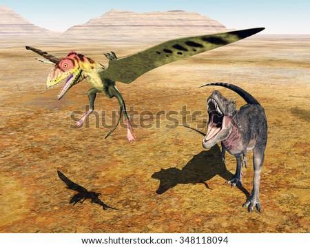 The dinosaur Tarbosaurus attacks the pterosaur Peteinosaurus Computer generated 3D illustration - stock photo