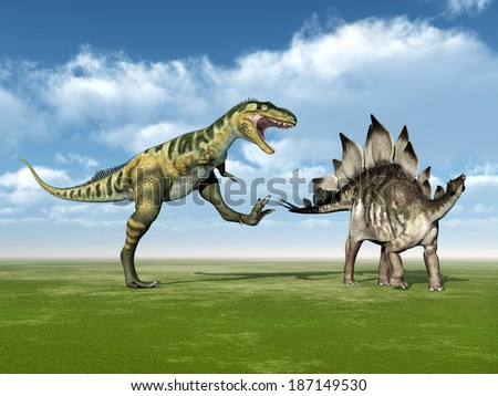 The Dinosaurs Bistahieversor and Stegosaurus Computer generated 3D illustration - stock photo