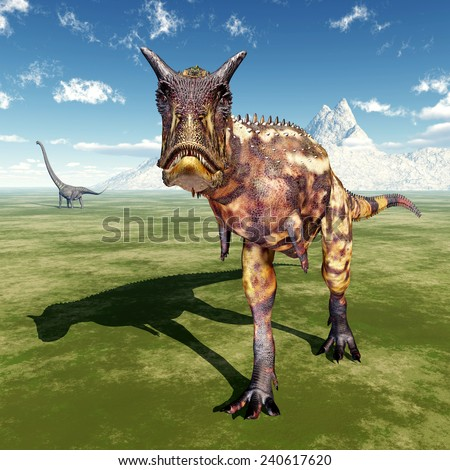 The Dinosaurs Carnotaurus and Mamenchisaurus Computer generated 3D illustration - stock photo