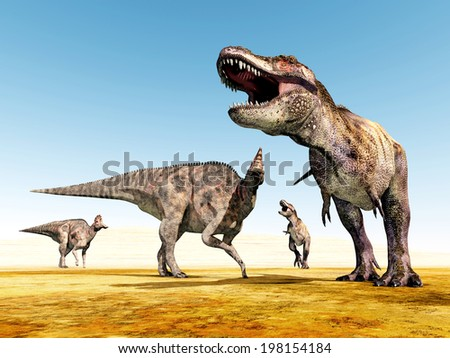 The Dinosaurs Corythosaurus and Tyrannosaurus Rex Computer generated 3D illustration - stock photo