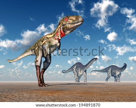 The Dinosaurs Nanotyrannus and Apatosaurus Computer generated 3D illustration - stock photo