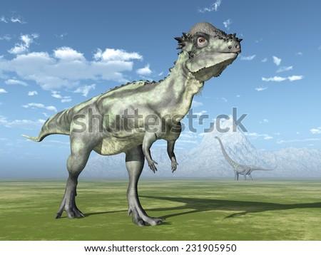 The Dinosaurs Pachycephalosaurus and Mamenchisaurus Computer generated 3D illustration - stock photo