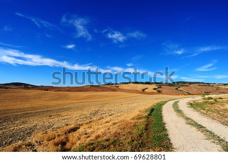 The Dirt Road Between The Fields Of Tuscany - stock photo