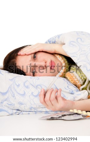 the diseased girl lying in bed, aching head isolated on white background