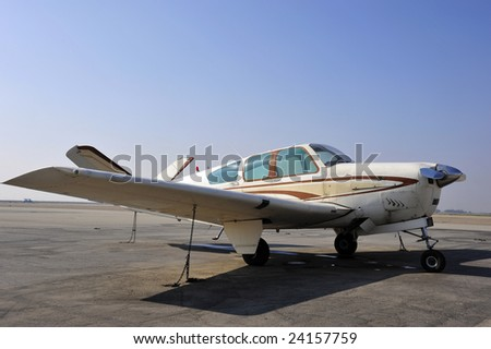 The distinctive V-tailed Beechcraft Bonanza was introduced after World War Two - stock photo