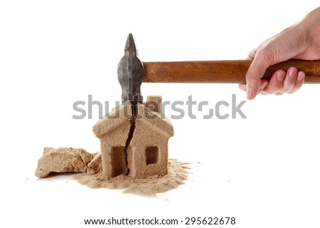 The division of property upon divorce. Unsuccessful mortgages, a lot of debt. Seizure of property. - stock photo
