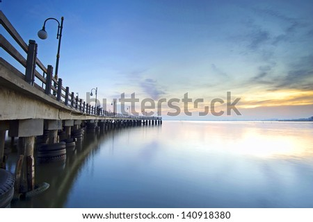 The Dock by the lake - long exposure - stock photo