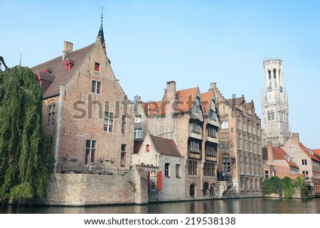 The dock of the Rozenhoedkaai, Bruges, Belgium.