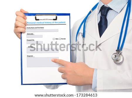 The doctor in a white coat with a stethoscope holding a folder with history