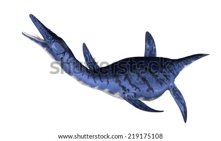 The Dolichorhynchops was an oceangoing prehistoric reptile that lived during the Late Cretaceous period. - stock photo