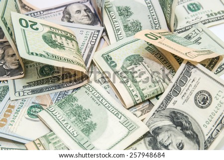 The dollar banknotes background - stock photo