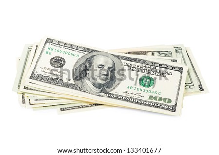 The dollar banknotes isolated on white background
