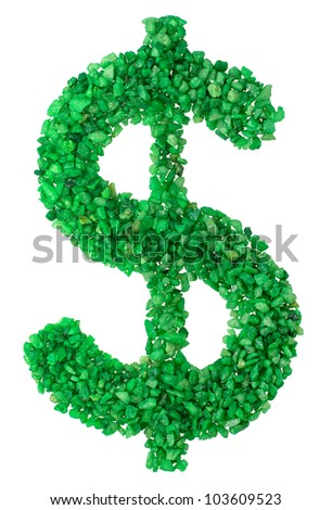 the dollar sign from the green stones laid out on a white background