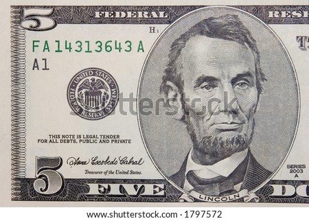 The 5 dollars banknote macro - stock photo
