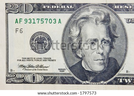 The 20 dollars banknote macro - stock photo