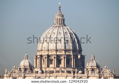 The dome of Saint Peter cathedral in Vatican City - stock photo