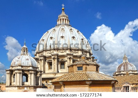 the dome of St. Peter in Vatican, Rome, Italy. - stock photo