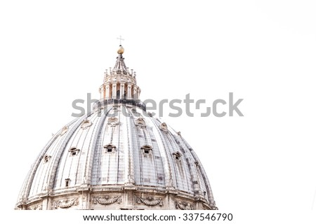 The dome of St Peter's basilica in Vatican, Rome, Italy, on a white background with copy space for text. - stock photo