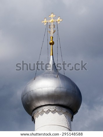The dome of the belfry of the Assumption Cathedral of the Rostov Kremlin on a sunny summer day. Rostov Veliky (The Great), Golden Ring of Russia. - stock photo
