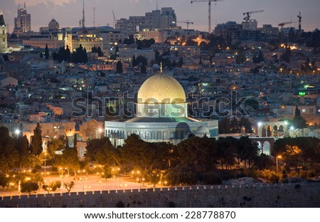 The dome of the rock with the golden roof on the temple mount in the twilight in Jerusalem