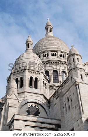 The dome of the Sacre Coeur basilica at Montmartre in Paris, France. Designed by Paul Abadie, the building was completed in 1914. - stock photo