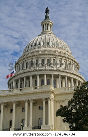 The dome of the United States Capitol building.  - stock photo