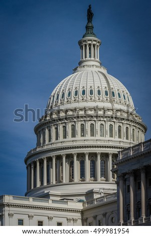 The dome of the United States Capitol Building, in Washington, DC.