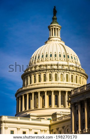 The dome of the United States Capitol, in Washington, DC. - stock photo