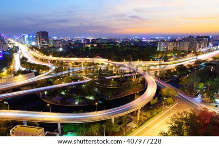 The Dongzhimen North Overpass at night in Beijing,China. - stock photo