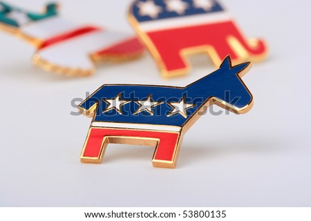 The donkey - a democratic party symbol in the USA, is used in the pre-election company. - stock photo