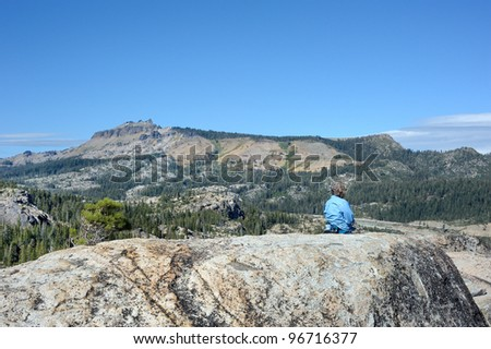 The Donner Summit area in the California Sierra Nevada mountains - stock photo