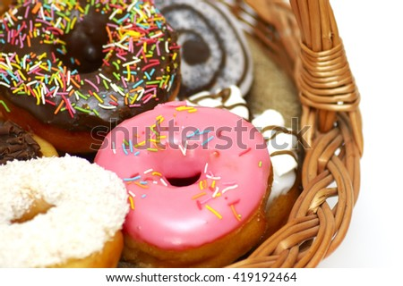 the donuts in a wicker basket close-up