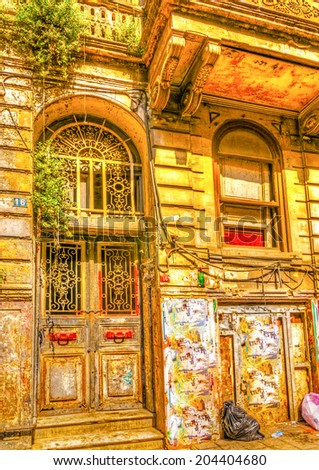 the door of a very old building located at the center of Istanbul in Turkey. HDR processed - stock photo