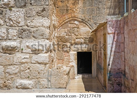 The Door of Humility, main entrance into the Church - stock photo