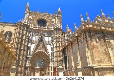 The Door of the Prince to the Cathedral of Saint Mary of the See (Seville Cathedral) in Seville, Andalusia, Spain - stock photo