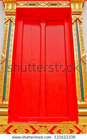 The door of the temple (the Arts of Thailand).(Public place)