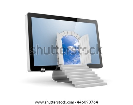 The door to a new virtual reality. 3d illustration - stock photo