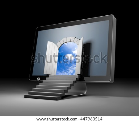 The door to a new virtual reality through monitor. 3d illustration - stock photo